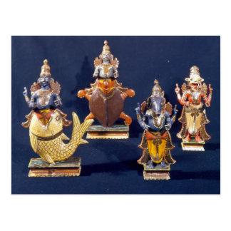 Four of the incarnations of Vishnu Postcard