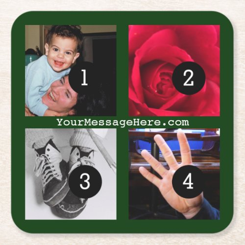 Four of Your Photos and Text to Make Your Own easy Square Paper Coaster