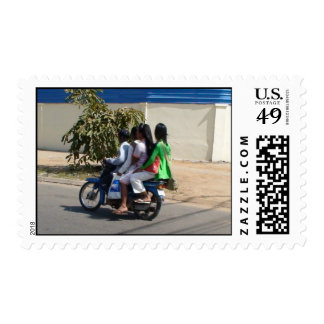 four on a moto postage stamps