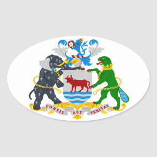 FOUR Oxford Coat of Arms Oval Sticker