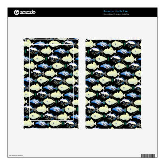 Four Pacific Triggerfish  nighttime pattern Decals For Kindle Fire