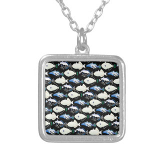 Four Pacific Triggerfish  nighttime pattern Square Pendant Necklace