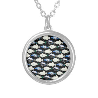 Four Pacific Triggerfish  nighttime pattern Round Pendant Necklace