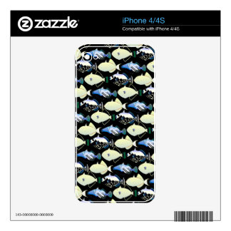Four Pacific Triggerfish  nighttime pattern Skin For The iPhone 4S