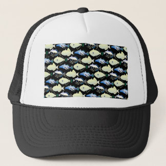 Four Pacific Triggerfish  nighttime pattern Trucker Hat