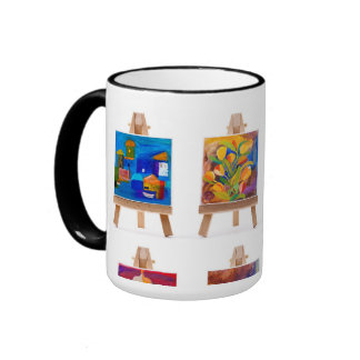 Four paintings on easels by Kay Gale Ringer Mug