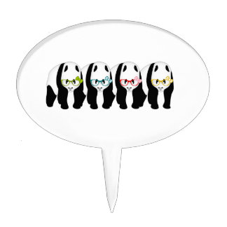 Four Pandas wearing glasses Cake Topper