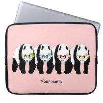 Four Pandas wearing glasses Computer Sleeve