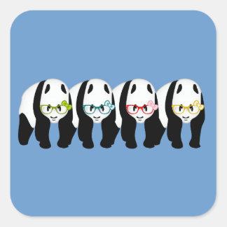 Four Pandas wearing glasses Square Sticker