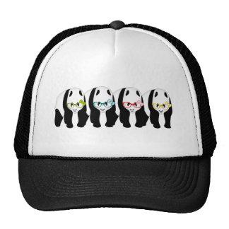 Four Pandas wearing glasses Trucker Hat