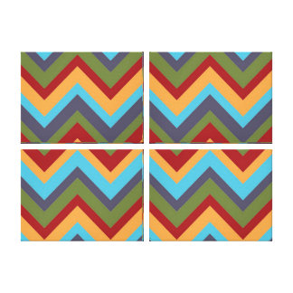 Four Panel Colorful Chevron Canvas Gallery Wrap Canvas
