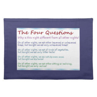 Four Passover Questions Cloth Placemat