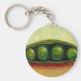 Four peas in a pod fun unique original art basic round button keychain