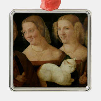 Four People Laughing at the Sight of a Cat Metal Ornament