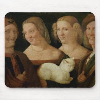 Four People Laughing at the Sight of a Cat Mouse Pad