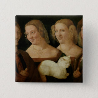 Four People Laughing at the Sight of a Cat Pinback Button
