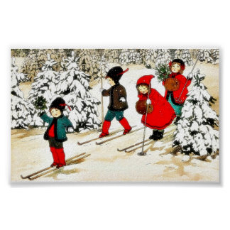 Four People snow slading in the snow land Poster