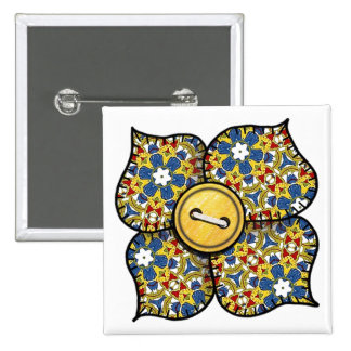 Four petal flower with stitched pattern petals pinback button