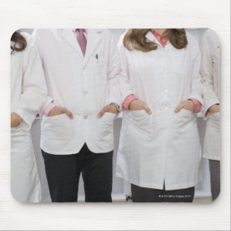 Four pharmacists with their hands in their mouse pad