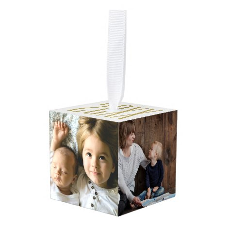 Four Photo and Year Cube Ornament