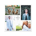 Four Photo Collage Canvas with Custom Text<br><div class='desc'>Capture the year&#39;s memories in a customizable square print with four of your favorite photos,  and customized name and year text.</div>