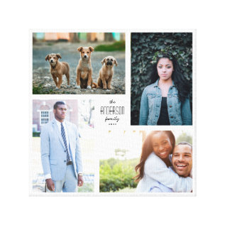 Four Photo Collage Canvas With Custom Text at Zazzle