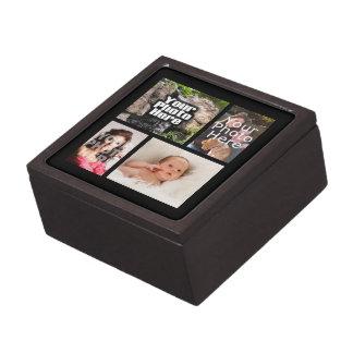 Four Photo Collage Custom Keepsake Box Premium Trinket Boxes