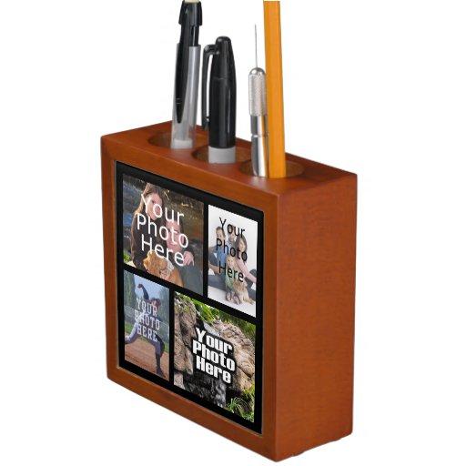 Four Photo Collage Custom Pencil Holder Desk Block Zazzle