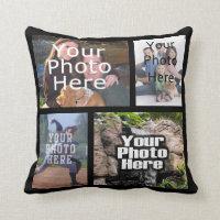 Four Photo Collage Custom Pillow