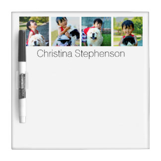 Four Photo Collage Mosaic Personalized Name To-do Dry-Erase Board