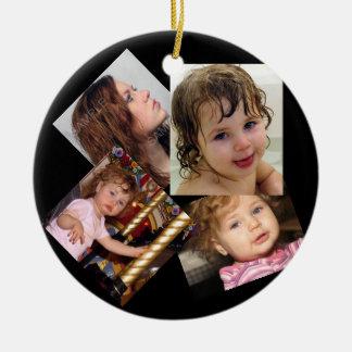 Four Photo Collage Template Ceramic Ornament