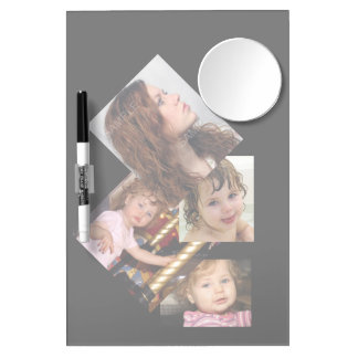 Four Photo Collage Template Dry Erase Board With Mirror