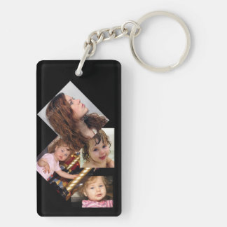 Four Photo Collage Template Double-Sided Rectangular Acrylic Keychain