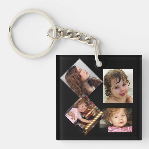 Four Photo Collage Template Acrylic Key Chains