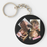 Four Photo Collage Template Basic Round Button Keychain