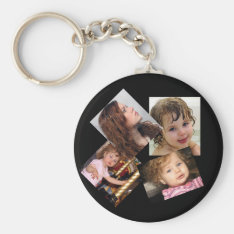 Four Photo Collage Template Keychain at Zazzle