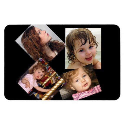 Four Photo Collage Template Magnet