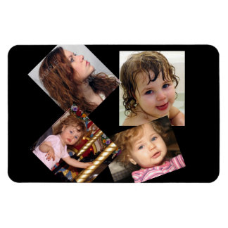 Four Photo Collage Template Rectangular Photo Magnet