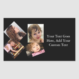 Four Photo Collage Template Rectangular Sticker