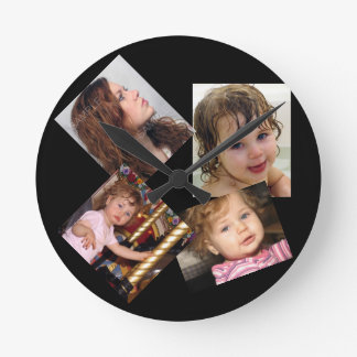 Four Photo Collage Template Round Wall Clock
