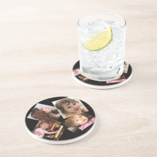 Four Photo Collage Template Sandstone Coaster
