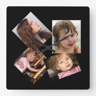 Four Photo Collage Template Square Wallclocks