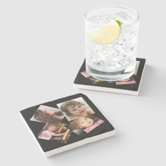 Four Photo Collage Template Stone Coaster