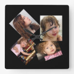 Four Photo Collage Template Wall Clock