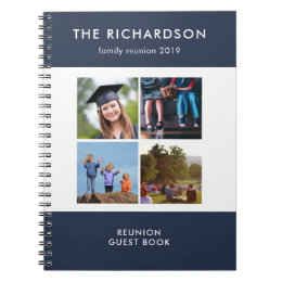 Four Photo Grid Blue and White Family Reunion Notebook