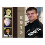 Four Photo Male Graduation Announcement Postcard