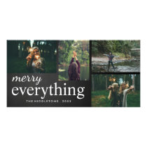 Four Photo | Merry Everything Chalkboard Script Card