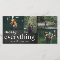 Four Photo | Merry Everything Chalkboard Script Holiday Card