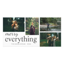 Four Photo | Merry Everything Typography Holiday Card