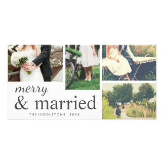 Four Photo   Merry & Married Typography Holiday Card
